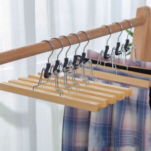 Wooden Pants Hangers with Clips Non Slip Skirt Hangers, Smooth Solid Wood