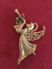 white stones, gold toned, excellent shape beautful angel brooch with red, green,