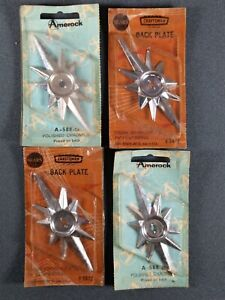 4 Vtg NOS Mid Century Modern Cabinet Drawer Pull Knob Handle Backer Atomic Age