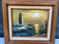Vintage Seascape Lighthouse Coast Sunset Original Hand Painted - Signed