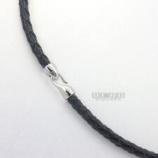 Sterling Silver Hook Clasp 4mm Braided Genuine Leather Necklace, Easy Attach