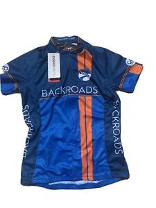NWT Women's S Louis Garneau Backroads Full Zip Cycling Jersey   ~Blue/Orange~