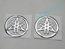 Chrome 3D Soft Rubber Mini Fuel Gas Tank Emblem Badge Decal Stickers For Yamaha