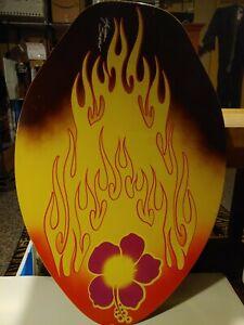 Michael Searle Surf Board Skimboard Wood Skim Surfing Flower Flame NICE!