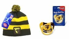 SET OF 2 HAWTHORN HAWKS AFL STRIPE TODDLER BEANIE & PACIFIER DUMMY