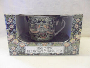 Gift boxed jumbo cup and saucer in William morris black strawberry thief design