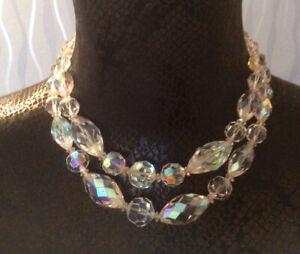 Aurora Borealis Vintage 1950s Two strand AURORA BOREALIS Glass bead Necklace