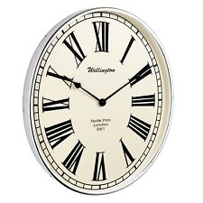 Endon Shelby 50cm Traditional Oval Wall Clock in Ivory + Chrome + Roman Numerals