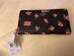 NWT $250 Coach Dark Brown CC Floral Flower Zip Wallet