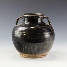 "Vintage Chinese Export Brown Drip Glaze Pottery Double Handle 6"" Jug Jar Nr Sam"