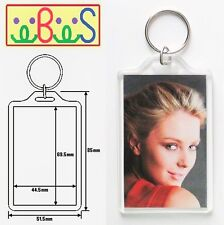 4x Blank Clear Acrylic Keyrings 70x45mm Photo Size key ring plastic E1306