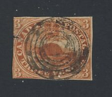 Canada Early Stamp #4-3c Beaver Imperforate Used Tear on left side GV = $112.50