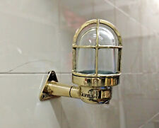 NAUTICAL ANTIQUE OLD BRASS ORIGINAL SHIP WALL MARINE WISKA LIGHT