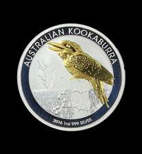 2016 P  Australian $1 1 oz. Silver Kookaburra 24K Gold Gilded Ounce Free Ship