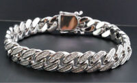 "9Ct Round Cut Diamond 14K White Gold Finish Mens Cuban Link Chain 8"" Bracelet"