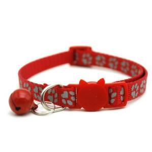 cat pawprint collar breakaway safety bell 19-32cm 1cm wide reflective