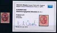 Allenstein 1920;Germania 40Pfg. unverausgabte Marke, Befund, Michel I, KW € 260