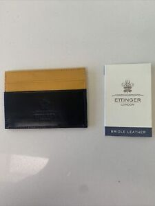 New. Ettinger London Credit Card Holder. Leather.  Black And yellow