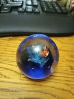 Handblown Artglass Paperweight Murano Blue, clear glass stingray mountains