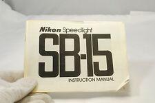 Nikon Speedlight SB-15 flash Instructional Manual 7216061 Genuine Guide