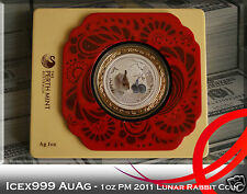 1oz Australian Perth Mint 2011 Lunar Rabbit Silver Coloured Coin in Framed