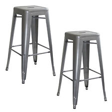 AmeriHome BS0302PK Loft Silver Metal Bar Stool - 2 Piece