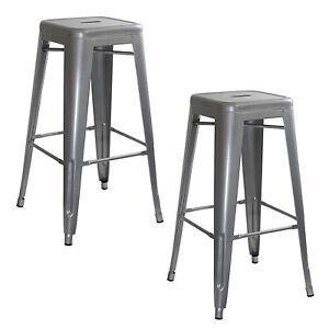 AmeriHome BS0302PK Loft Silver Metal Bar Stool - 2 Piece