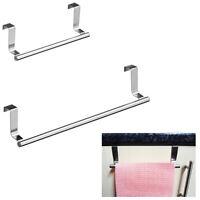 Over Door Rail Stainless Tea Towel Metal Hanger Holder Kitchen Bathroom Cupboard