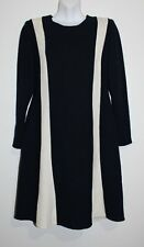 VTG Christian Alta Moda New York Navy & Cream Stripe Fit & Flare Dress Size 10