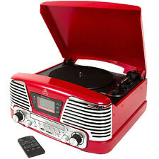 Gpo Memphis Retro Rojo Lp Vinilo Grabación Plato Giratorio Mp3 CD Radio FM reproductor de música