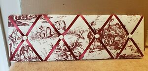 """Victorian French Toile Memory Photo Picture Message Board Red and White 24"""" x 8"""""""