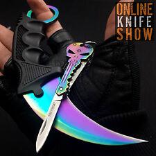 TACTICAL COMBAT KARAMBIT NECK KNIFE Survival Hunting Fixed Blade RAINBOW SKULL