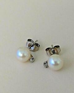 2 PAIR Pearl & Diamond Earrings 10kt White Gold 6 MM 10kt Gold Earring Backs