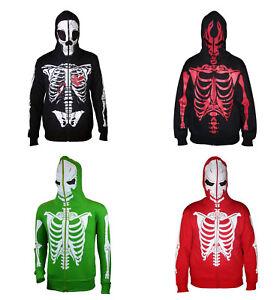 Mens Full Face Mask Skeleton Skull Hoodie Sweatshirt Halloween Hooded Costume