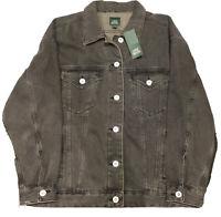 Wild Fable Womens Denim Jacket Button Front Fashion Washed Black Size Medium