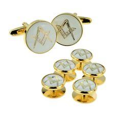 White & Gold Enamelled Masonic Cufflinks & 5 Button Stud Set in a Box X2Aj314a