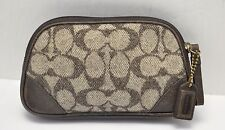 Vintage Coach Brown Leather/Wool Mini Cosmetic travel Pouch /Change Holder Case