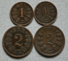 NORWAY 1 & 2 Ore 1876,1877,1902 - Lot of 4 Old Bronze Coins, No Res.!