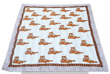 Indian Hand Block Tiger Print Baby Quilt Bed Cover Bedding Blanket Coverlet