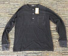RRL double R L henley washed black with polka dots new with tags