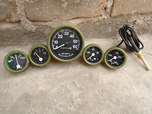 Willys MB Jeep Ford GPW Gauges Kit - Speedometer Temp Oil Fuel Ampere OLIVE