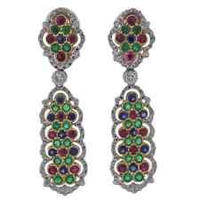 Fine Brilliant Cut Multi Color Gemstones With White Cubic Zirconia Drop Earrings