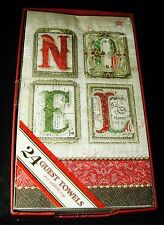 Punch Studio 24 Guest Towels 3-Ply Paper Napkins Noel in Reusable Tray 63285
