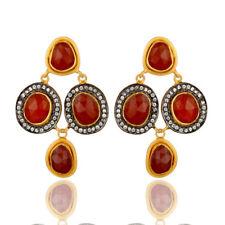 Red Onyx Gemstone Wedding Dangle CZ Earrings 925 Silver Handmade Jewelry