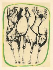 """Marino Marini """"Cavalier et chevaux, bordure verte"""""""