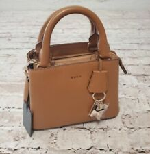 DKNY Paige Small Leather Satchel Brown Driftwood Gold Accent New