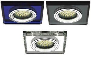 Einbau-Strahler Decken-Spot LED Glas GU10 230V Eckig Downlight