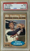 1962 Topps Sporting News All Star HANK AARON Baseball Card Home Run King PSA 6
