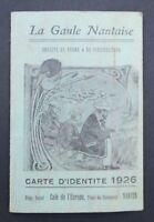 Carte de membre de pêche 1926 LA GAULE NANTAISE Nantes