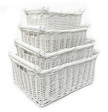 Kitchen Log Full Wicker Storage Basket With Handles Xmas Empty Hamper Basket White Set of 2 Medium